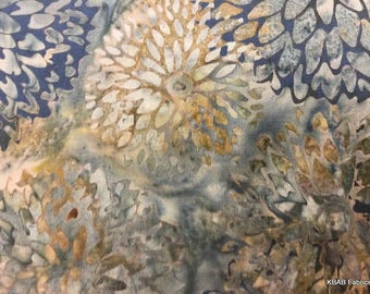 Blue Brown Floral Batik Fabric By the Yard Hand Dyed Flower Fabric Apparel Quilting Fabric Material 100% Cotton Fabric t7/6