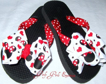 Red Minnie Bow Flip Flops READY TO SHIP