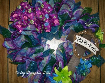 He Is Risen Wreath, Easter wreath, cross wreath, cross deco mesh, religious wreath, spring wreath, Summer wreath patio decor, porch decor.