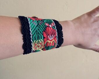 Boho Bracelet, Chunky Wrist Cuff, Textile Ar,t Cuff Fabric Bracelet, Floral Bracelet, Boho Style, Floral Wrap Bracelet, Unique Jewelry