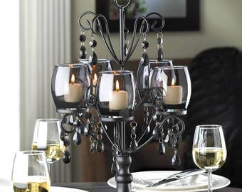 Midnight Elegance Faceted Baubles Iron and Tinted Glass Candelabra