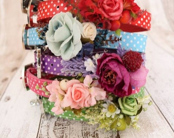 Dog collar flowers - Retro Blue