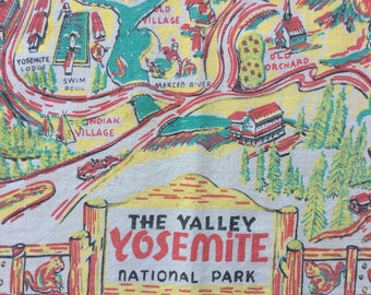 The Valley Yosemite National Park vintage souvenir tablecloth