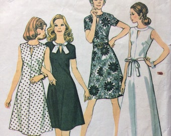 McCall's 3609 vintage 1970's misses dress in half sizes sewing pattern size 16 1/2 size 16.5 bust 39