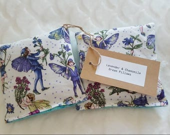 Herbal Dream Pillows With Dried Lavender and Chamomile - Sleep Pillows - Limited Edition - Vintage Style Fairy Fabric - Glitter - Set of 2