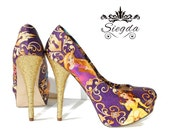 Disney Princesses Gold Glitter Heels- Choose Your Shoe Style- Wedding- Geek- Bride- Prom- Graduation- Gift- Custom Shoes- Holiday