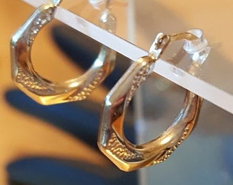 10Kt Gold Hoop Vintage Jewelry Earrings Yellow Gold White Gold Small Hoops