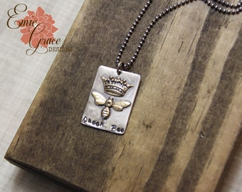 READY TO SHIP - Queen Bee Necklace, Sterling Silver, Brass, Bumble Bee, Crown, Hand Stamped