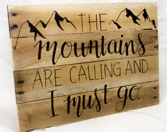 The Mountains are Calling Adventure Awaits Hiking gifts Camping signs Camping decor Gift for Student Travel gift Rustic home decor Wood sign