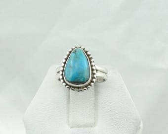 Small Stunning Blue Turquoise Sterling Silver Native American Ring Size 4 3/4  #TURQ-SR4