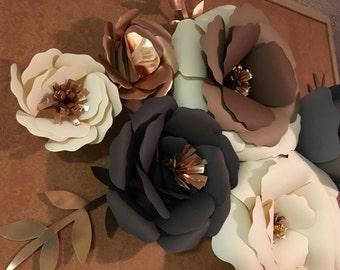 Neutral giant paper flowers. Metallic flowers. Cream brown gray rose gold paper flowers. Wall flowers. Nursery flowers. Baby shower. Wedding