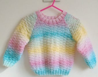 rainbow retro style textured knitted jumper