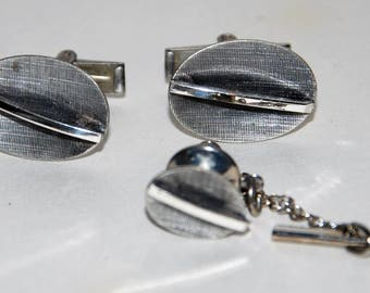 Genuine Vintage 1950s-'60s Sterling Silver MCM Cuff Links & Tie Tack Set -- Free Shipping!