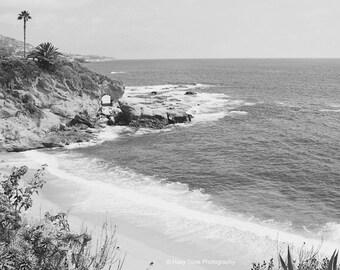 Beach Photography Print, Black White Wall Art Print, Laguna Beach, Wall Decor, California Wall Art, Coastal Decor, Surf Art, Beach Photo
