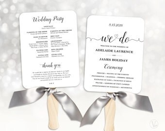 Wedding Fans, Wedding Program Template, Fan Wedding Program, DIY Kraft Wedding Programs, Cheap Program, Editable Text, We Do VW02