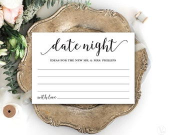 Date Night Card Template, Printable Wedding Date Night Card, Editable Text, Modern Calligraphy VW10