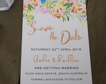 Citrus Blossom Watercolour Save The Date Cards - Weddings/Engagement