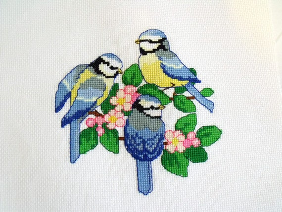 blue tits cross stitch picture, birds counted cross stitch to frame, bird lovers gift, wall art, embroidered picture