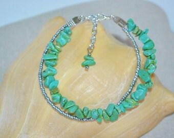 Ankle Bracelet or Bracelet Turquoise, Turquoise Anklet, Turquoise & Silver Anklet, 2 Strand Turquoise Bracelet, 2 Strand Turquoise Anklet