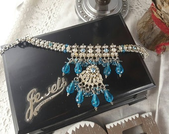 Clear and Blue Diamanté Tassel Bracelet with Assorted Multifaceted Blue Beads