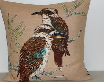 Kookaburra Cushion Cover Kingfisher Pillow Cover Upcycled Tea Towel Cushion Australian Birds Australiana House Warming Mothers Day Gift