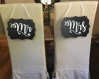Mr & Mrs Bride Groom Hanging Chalkboard Wood Chair Sign Wedding Props