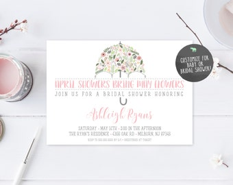 Bridal Shower Invitation, Umbrella Bridal Shower Invite, Pretty Bridal Shower Invites, April Showers Bring May Flowers, Shower Invite [448]