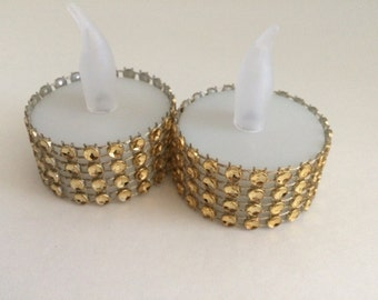 50 wedding Rhinestone led tealights gold or silver, led tea lights, holiday party decorations, christmas decorations