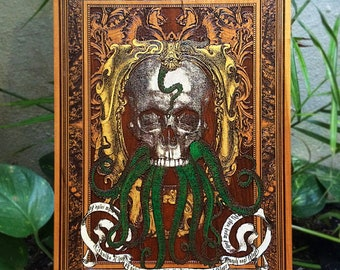 Alchemy Gothic Decor, Skull Print on Wood, Cthulhu Lovecraft, Dark Art, Macabre Oddity, Macabre Decor, Oddities, The Kraken Tentacles