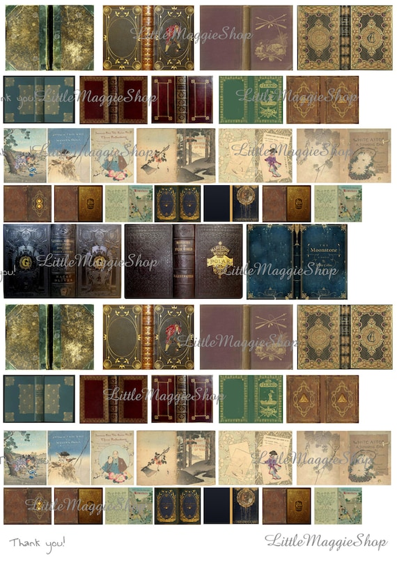 Old Book Cover Printable ~ Vintage magic book covers set scale downloadable