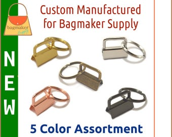 "1 Inch Deluxe Key Fob Hardware 5 Color Assortment, 1"", Purse Handbag Hardware Jewelry Craft Supply, KRA-AA016 New Item"