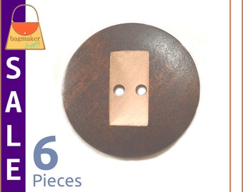 On Sale : Wood Buttons, Dark Brown and Natural, Round with Carved Rectangle Shape, 6 Piece Package, Sewing Purse Handbag Making, BSN-AA018
