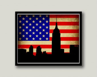 New York City American Flag Printable Art, Instant Download