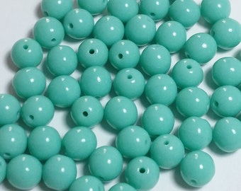 20pcs Turquoise Czech Glass Beads - 6mm Beads - Round Opaque Beads - GB305