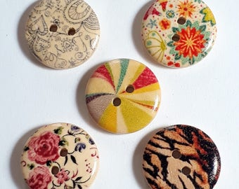 25pcs Assorted Picture Buttons - Wooden Buttons - 2 Hole Buttons - Sewing Buttons - Scrapbook Supplies - 18mm Buttons - B13392