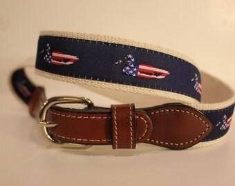 USA Mallard Duckl  men's Web Leather Belt