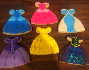Princess Dresses Decorated Sugar Cookies