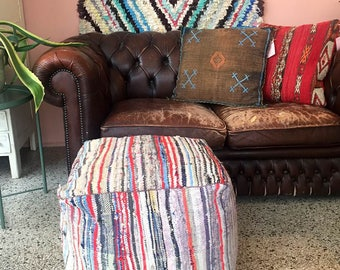 """Striped Handmade and unique kilim Moroccan pouf,poef,osmane,puff,ottoman,foot stool,floorpillow """" Comes with filling"""""""