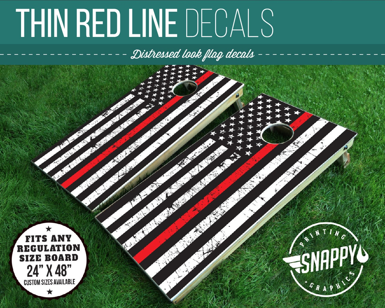 Thin Red Line American Flag Distressed Look Cornhole Decal
