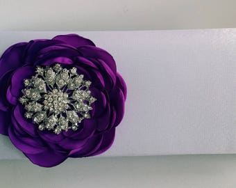 White and Purple Bridal Clutch with Rhinestone ~ Wedding Clutch, Bridesmaid Clutch ~ Bouquet Clutch- Evening Bag ~ Mother of the Bride, Prom