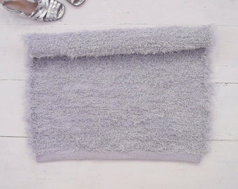 Grey rug, small rug, bathroom rug, soft and thick fluffy rug, washable rug, reversible, handmade on the loom, ready to ship