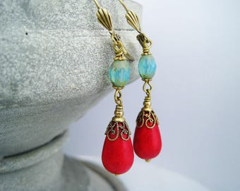 Earrings red howlite aqua czech beads brass vintage dangles turquoise red