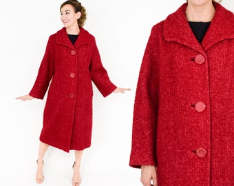 60s Red Wool and Mohair Coat| Fucshia Red Wool Coat |  Large