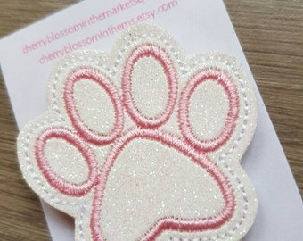 Pink and White Paw Print Paper Clip
