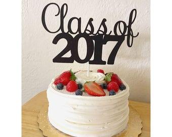 Glitter Class of 2017 Cake Topper, 2017 graduation cake toppers, Class of 2017, 2017 decorations, Graduation cake topper- 1 cake topper