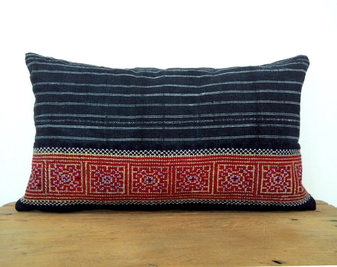 "12""x20"" Gorgeous Indigo Hemp and Vintage Cross-Stitch Embroidery Pillow Cover, Unique Handmade Vintage Hmong Textile Boho Pillow Cover"