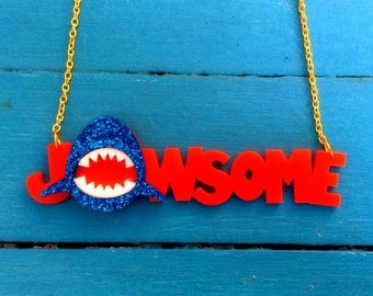 JAWSOME Glitter Acrylic Jaws Shark Necklace