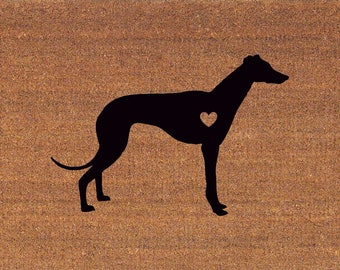 Greyhound with a Heart - Italian Greyhound - Whippet Door Mat - Coir Doormat,  LARGE, 23.75 Inches x 31.5 Inches, Welcome Mat, Housewarming