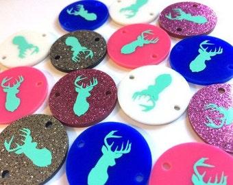 Mint Deer Head on 2 hole disc - jewelry making, bangle bracelet, deer jewelry, deer beads, acrylic blanks, acrylic disc, 1.25 inch size