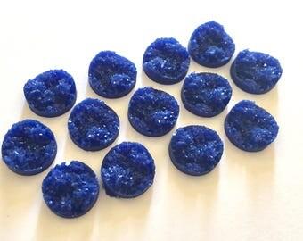 12mm Druzy Cabochons, Dark Blue, jewelry making kit, earring set, diy jewelry, druzy studs, 12mm Druzy, cabochon, stud earrings, blue